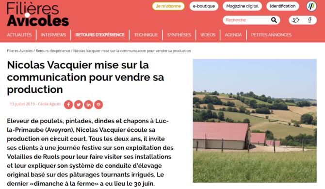 Le magazine Filières Avicoles consacre un article à l'exploitation !
